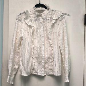 Zara Woman white eyelet blouse sz L NWT